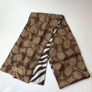 Coach 100% Silk Signature C and Zebra Print Scarf